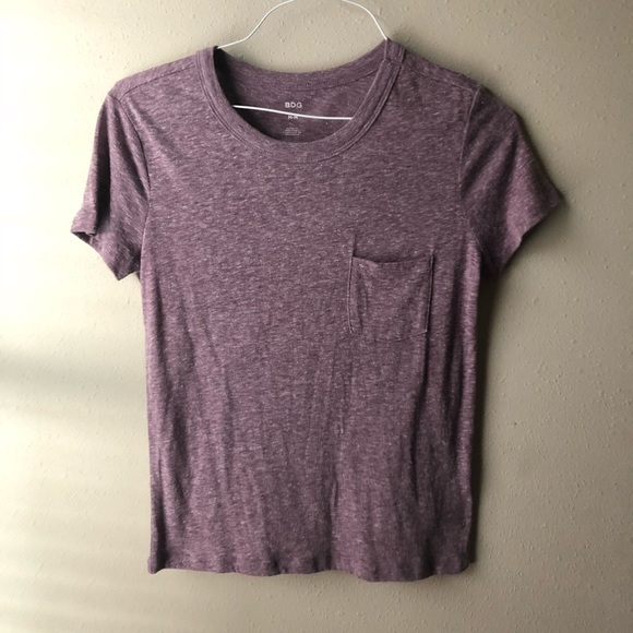 BDG Tops - Heathered Purple Pocket T-shirt